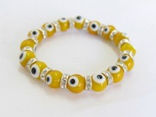 Evil Eye Bead Stretch Bracelet-yellow